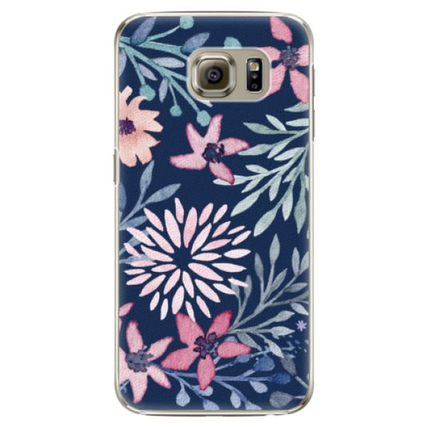 Plastové puzdro iSaprio - Leaves on Blue - Samsung Galaxy S6 Edge