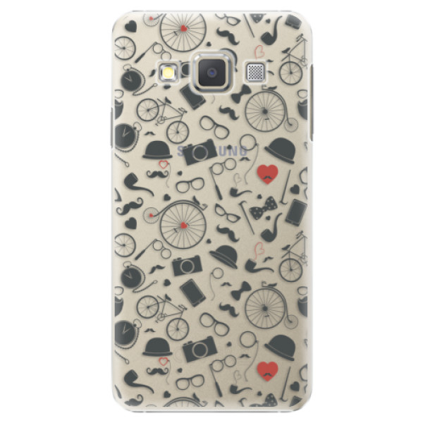 Plastové puzdro iSaprio - Vintage Pattern 01 - black - Samsung Galaxy A7