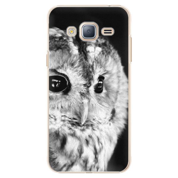 Plastové puzdro iSaprio - BW Owl - Samsung Galaxy J3 2016