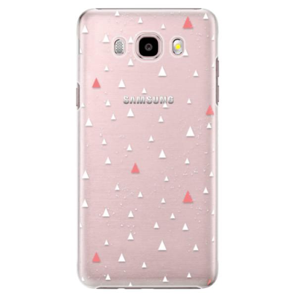 Plastové puzdro iSaprio - Abstract Triangles 02 - white - Samsung Galaxy J5 2016