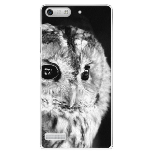 Plastové puzdro iSaprio - BW Owl - Huawei Ascend G6