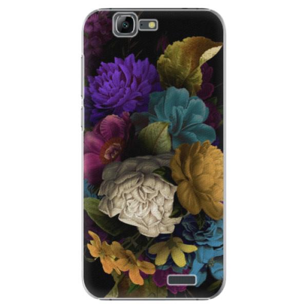 Plastové puzdro iSaprio - Dark Flowers - Huawei Ascend G7