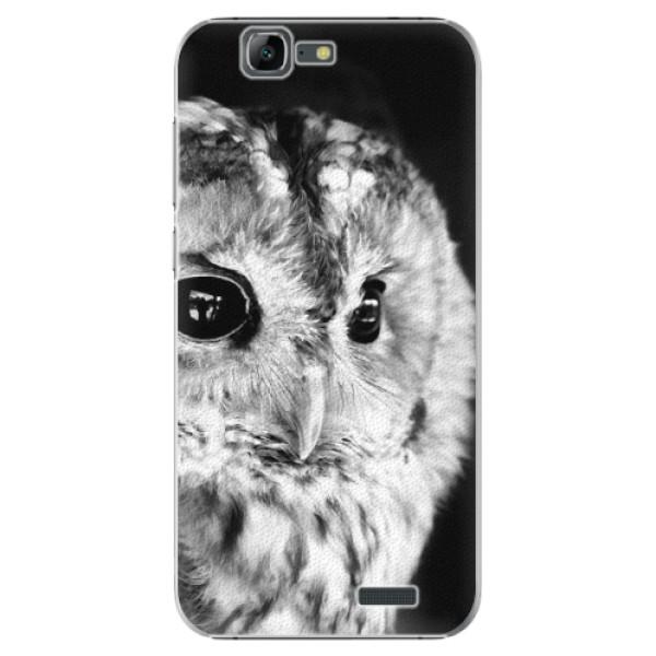Plastové puzdro iSaprio - BW Owl - Huawei Ascend G7