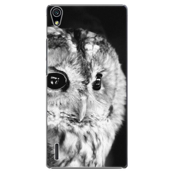 Plastové puzdro iSaprio - BW Owl - Huawei Ascend P7