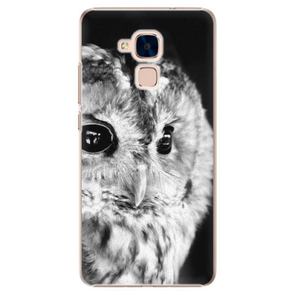 Plastové puzdro iSaprio - BW Owl - Huawei Honor 7 Lite