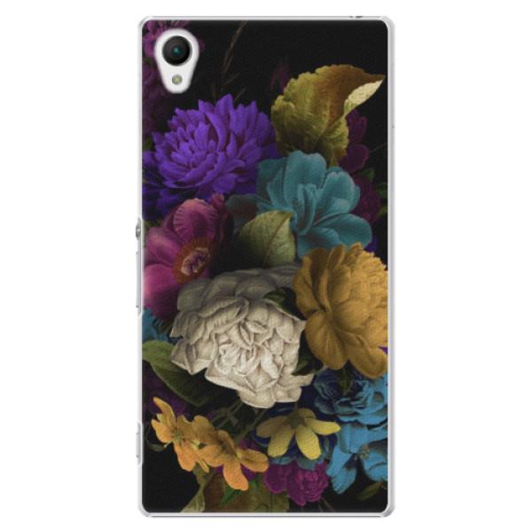 Plastové puzdro iSaprio - Dark Flowers - Sony Xperia Z1