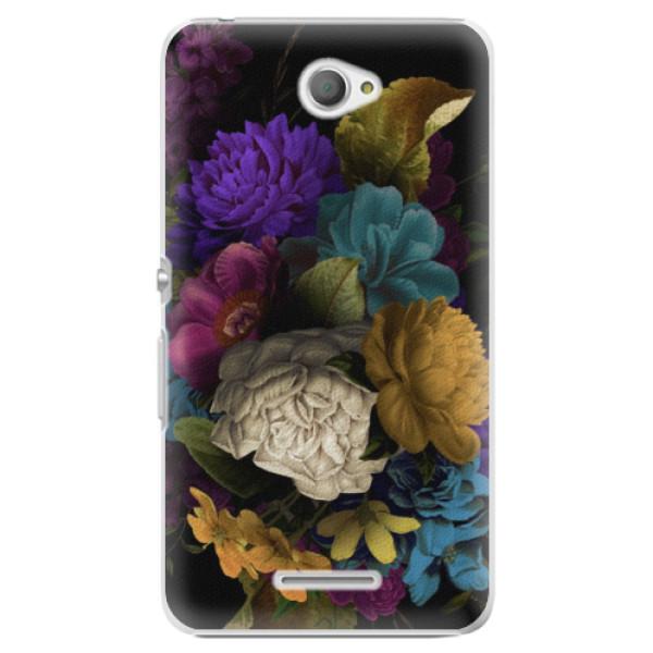 Plastové puzdro iSaprio - Dark Flowers - Sony Xperia E4
