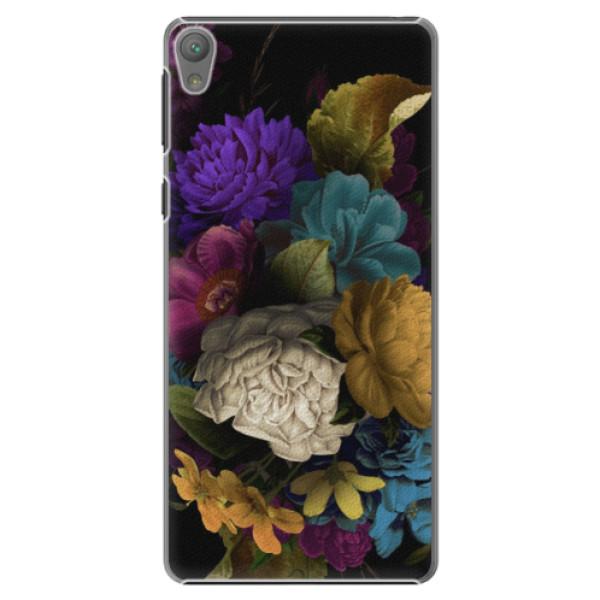 Plastové puzdro iSaprio - Dark Flowers - Sony Xperia E5