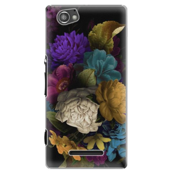 Plastové puzdro iSaprio - Dark Flowers - Sony Xperia M