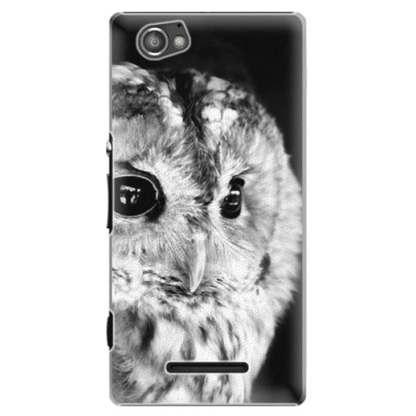 Plastové puzdro iSaprio - BW Owl - Sony Xperia M