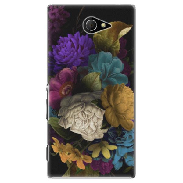Plastové puzdro iSaprio - Dark Flowers - Sony Xperia M2