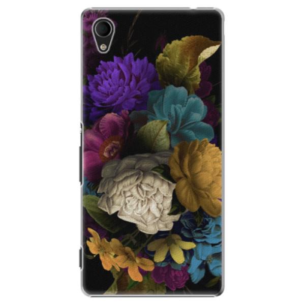 Plastové puzdro iSaprio - Dark Flowers - Sony Xperia M4