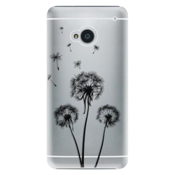 Plastové puzdro iSaprio - Three Dandelions - black - HTC One M7