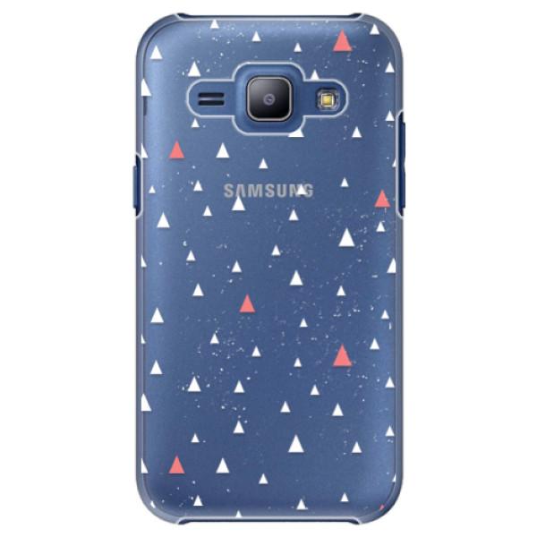 Plastové puzdro iSaprio - Abstract Triangles 02 - white - Samsung Galaxy J1