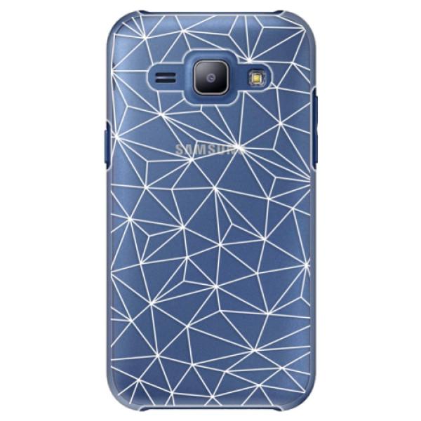 Plastové puzdro iSaprio - Abstract Triangles 03 - white - Samsung Galaxy J1
