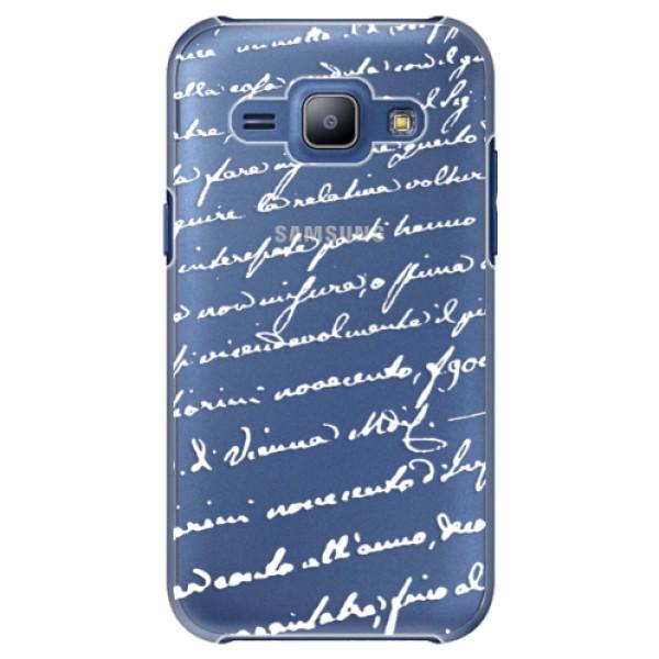 Plastové puzdro iSaprio - Handwriting 01 - white - Samsung Galaxy J1