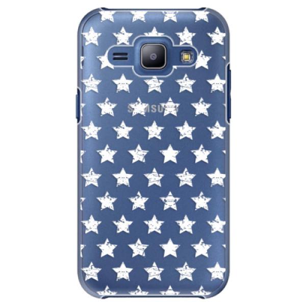 Plastové puzdro iSaprio - Stars Pattern - white - Samsung Galaxy J1