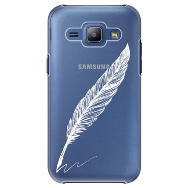 Plastové puzdro iSaprio - Writing By Feather - white - Samsung Galaxy J1
