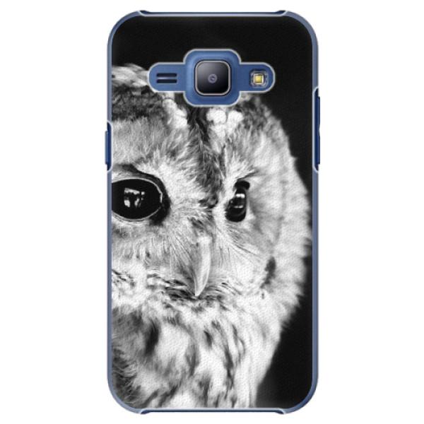 Plastové puzdro iSaprio - BW Owl - Samsung Galaxy J1