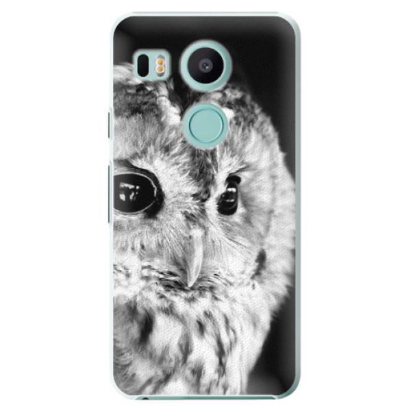 Plastové puzdro iSaprio - BW Owl - LG Nexus 5X