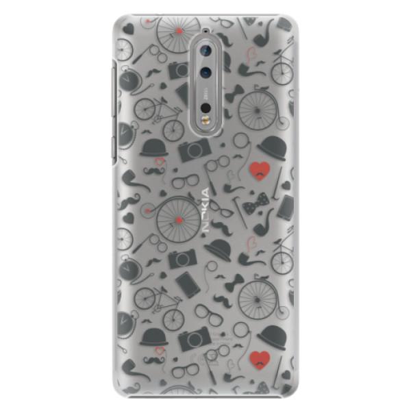 Plastové puzdro iSaprio - Vintage Pattern 01 - black - Nokia 8