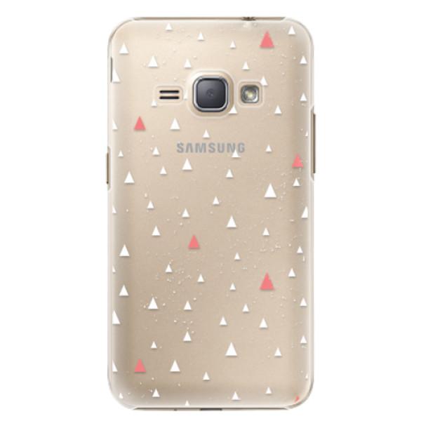Plastové puzdro iSaprio - Abstract Triangles 02 - white - Samsung Galaxy J1 2016
