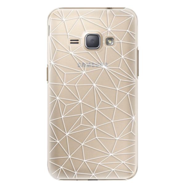 Plastové puzdro iSaprio - Abstract Triangles 03 - white - Samsung Galaxy J1 2016