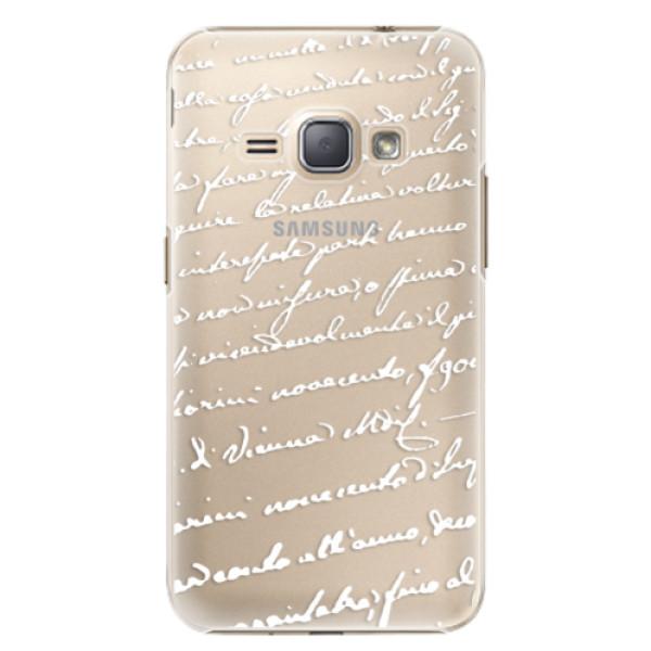 Plastové puzdro iSaprio - Handwriting 01 - white - Samsung Galaxy J1 2016