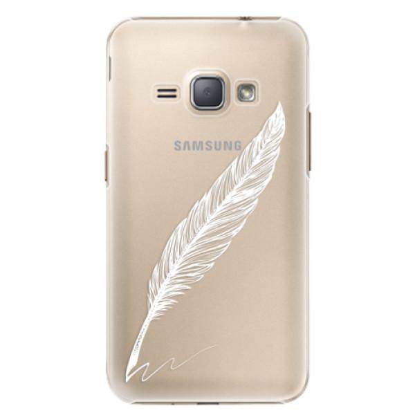 Plastové puzdro iSaprio - Writing By Feather - white - Samsung Galaxy J1 2016