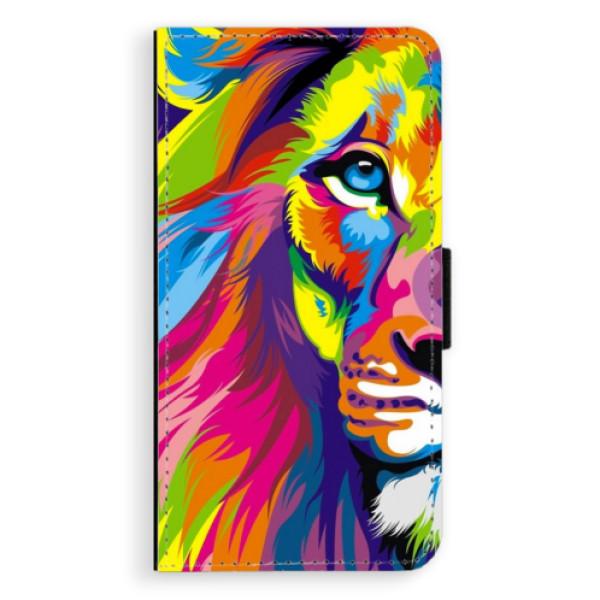 Flipové puzdro iSaprio - Rainbow Lion - Samsung Galaxy J5