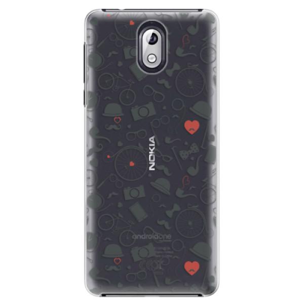 Plastové puzdro iSaprio - Vintage Pattern 01 - black - Nokia 3.1