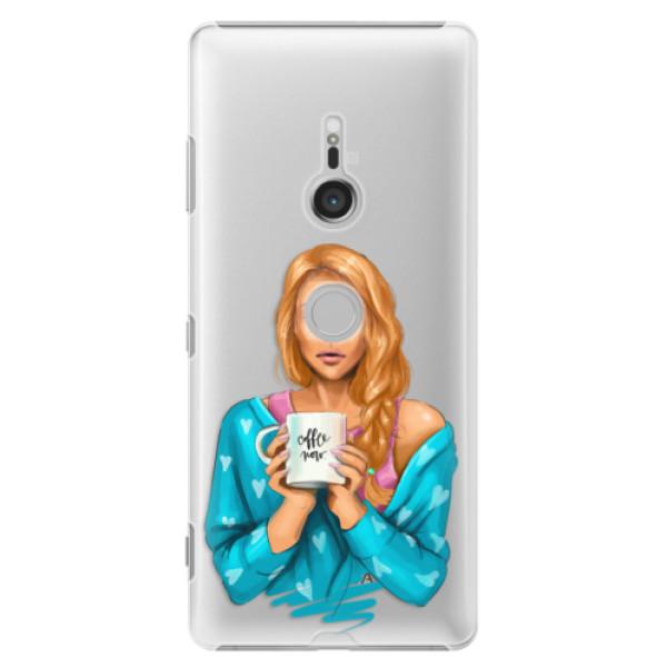 Plastové puzdro iSaprio - Coffe Now - Redhead - Sony Xperia XZ3