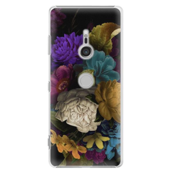 Plastové puzdro iSaprio - Dark Flowers - Sony Xperia XZ3