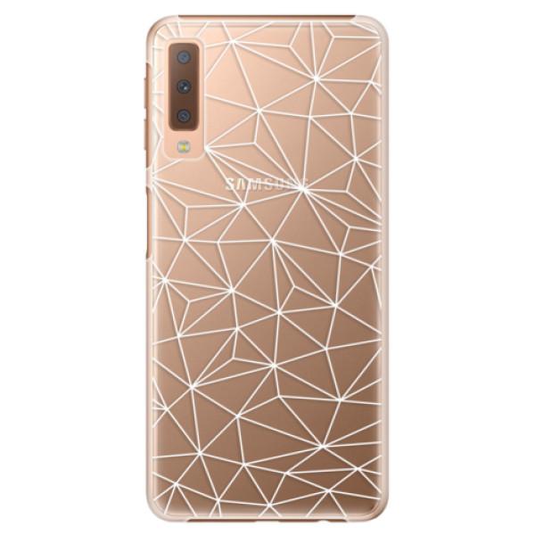 Plastové puzdro iSaprio - Abstract Triangles 03 - white - Samsung Galaxy A7 (2018)