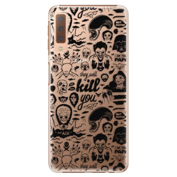 Plastové puzdro iSaprio - Comics 01 - black - Samsung Galaxy A7 (2018)