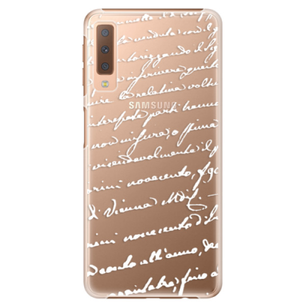 Plastové puzdro iSaprio - Handwriting 01 - white - Samsung Galaxy A7 (2018)