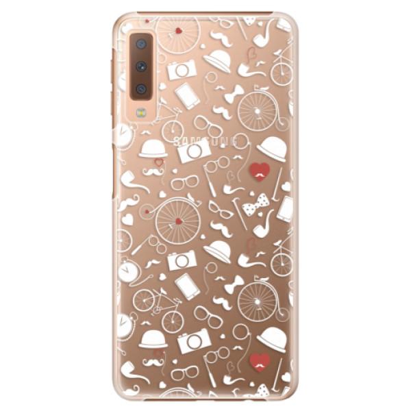 Plastové puzdro iSaprio - Vintage Pattern 01 - white - Samsung Galaxy A7 (2018)