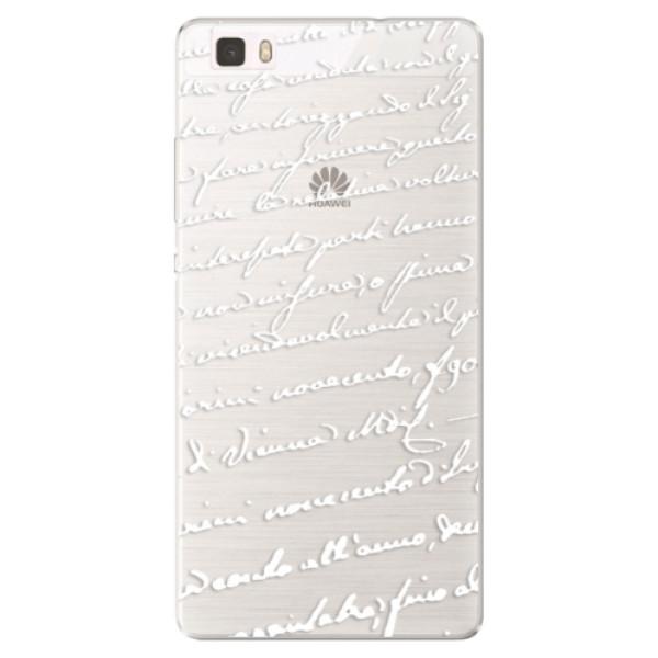 Silikónové puzdro iSaprio - Handwriting 01 - white - Huawei Ascend P8 Lite