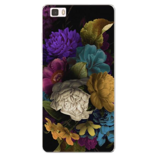 Silikónové puzdro iSaprio - Dark Flowers - Huawei Ascend P8 Lite