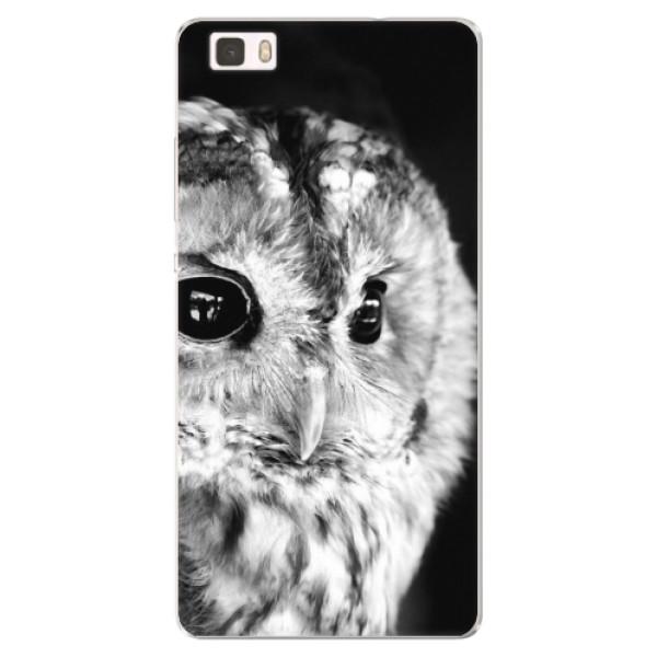 Silikónové puzdro iSaprio - BW Owl - Huawei Ascend P8 Lite