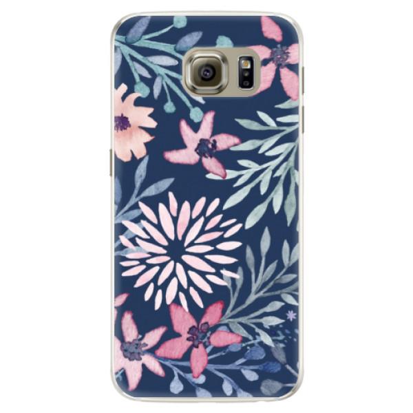 Silikónové puzdro iSaprio - Leaves on Blue - Samsung Galaxy S6