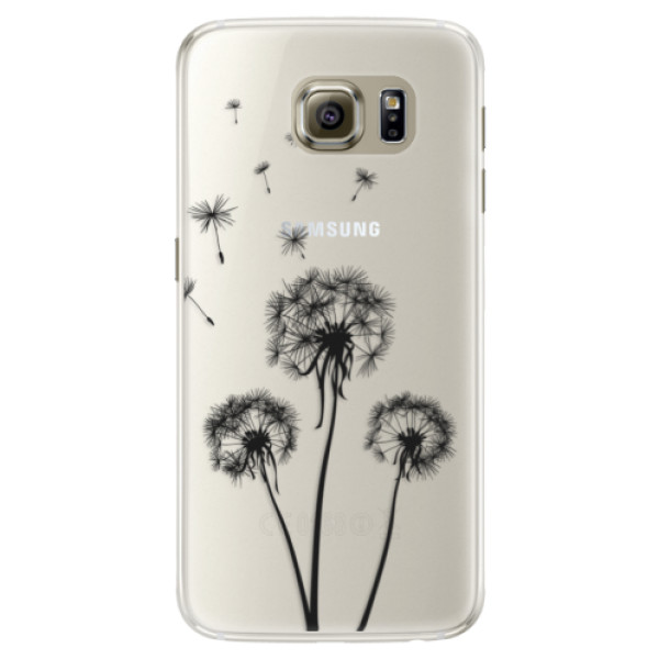 Silikónové puzdro iSaprio - Three Dandelions - black - Samsung Galaxy S6 Edge