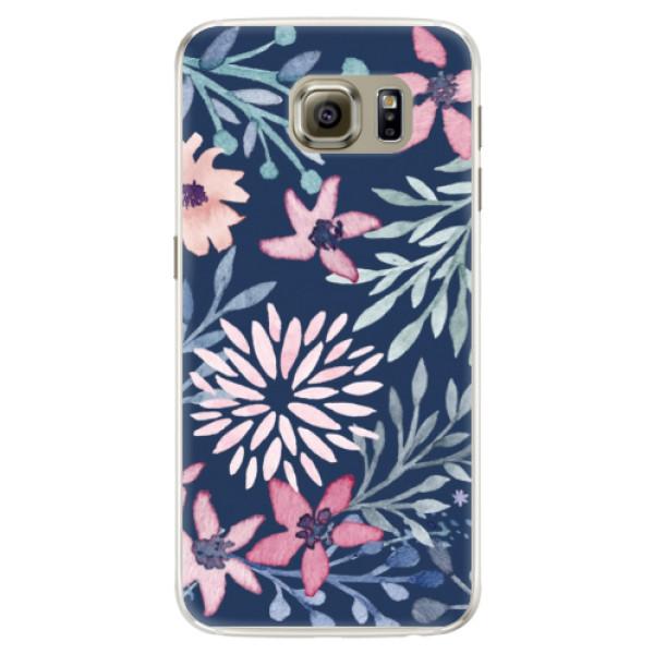 Silikónové puzdro iSaprio - Leaves on Blue - Samsung Galaxy S6 Edge