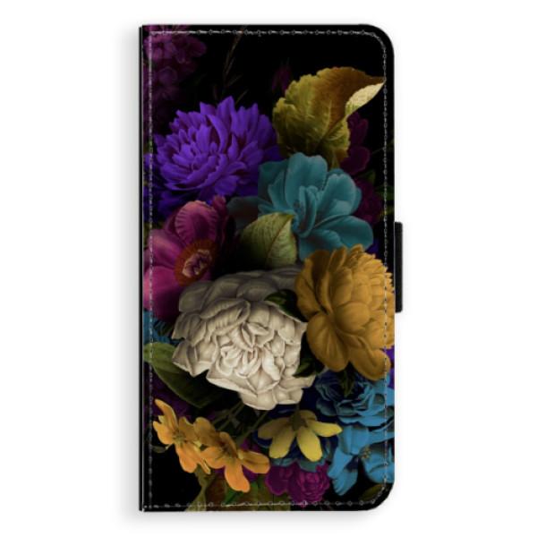 Flipové puzdro iSaprio - Dark Flowers - iPhone XS Max