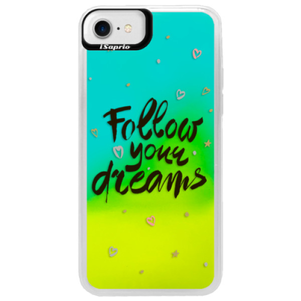 Neónové puzdro Blue iSaprio - Follow Your Dreams - black - iPhone 7