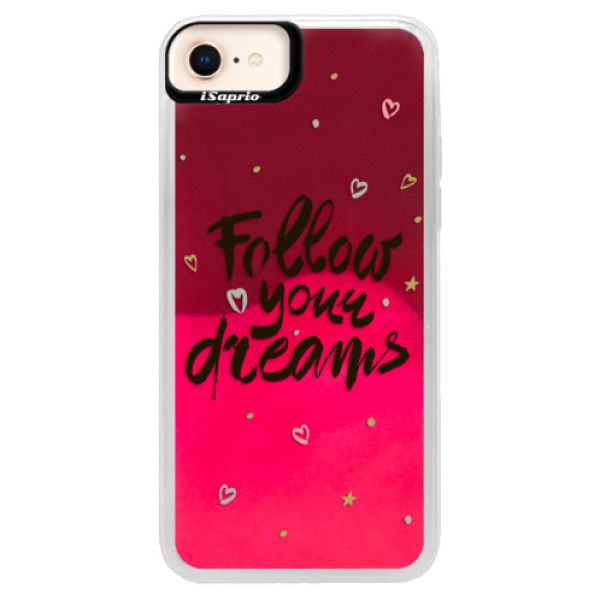 Neónové púzdro Pink iSaprio - Follow Your Dreams - black - iPhone 8