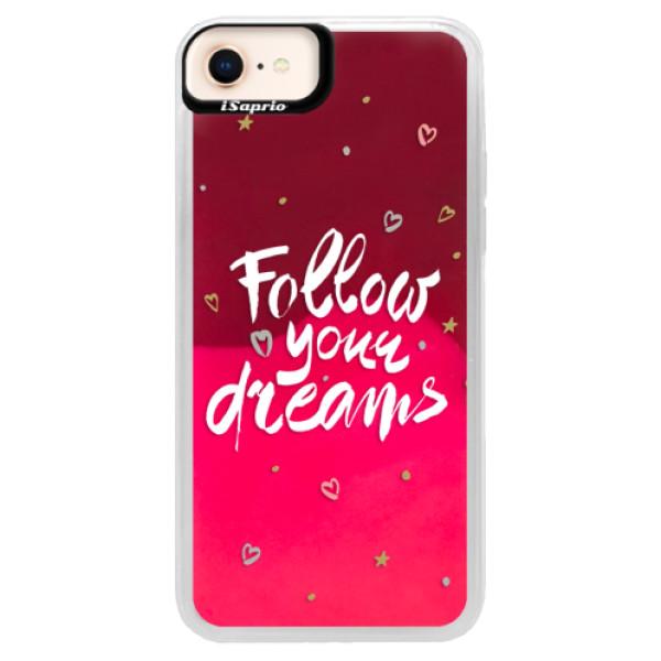 Neónové púzdro Pink iSaprio - Follow Your Dreams - white - iPhone 8