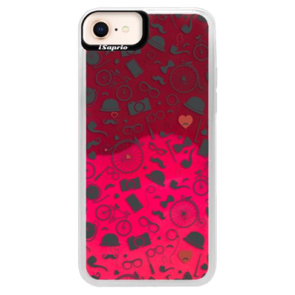 Neónové púzdro Pink iSaprio - Vintage Pattern 01 - black - iPhone 8