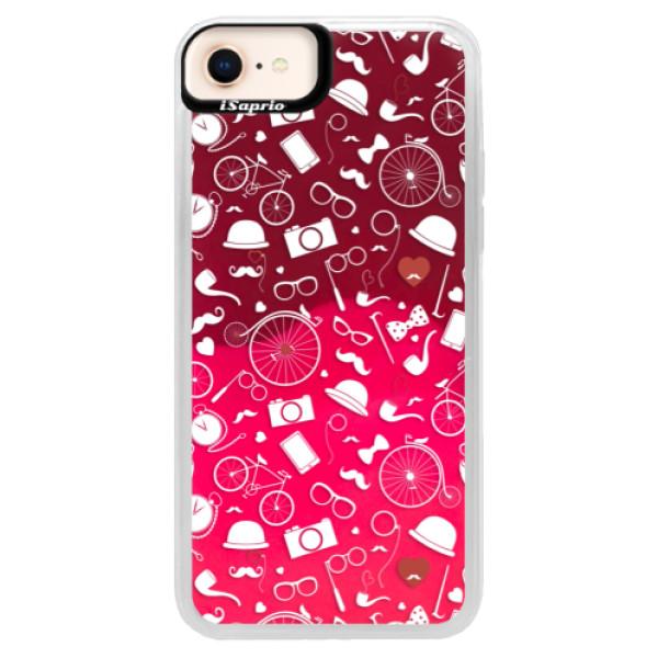 Neónové púzdro Pink iSaprio - Vintage Pattern 01 - white - iPhone 8