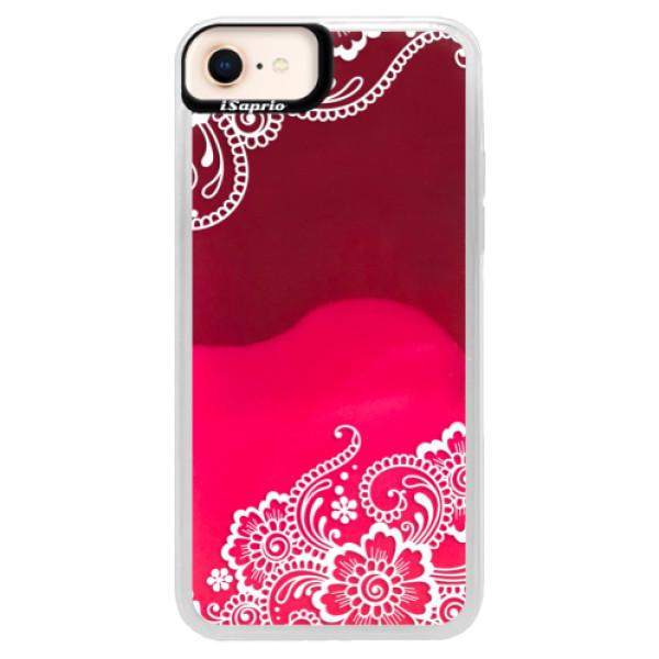 Neónové púzdro Pink iSaprio - White Lace 02 - iPhone 8